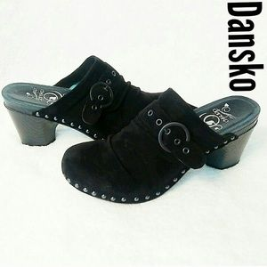 Dansko clogs, slip on , black suede